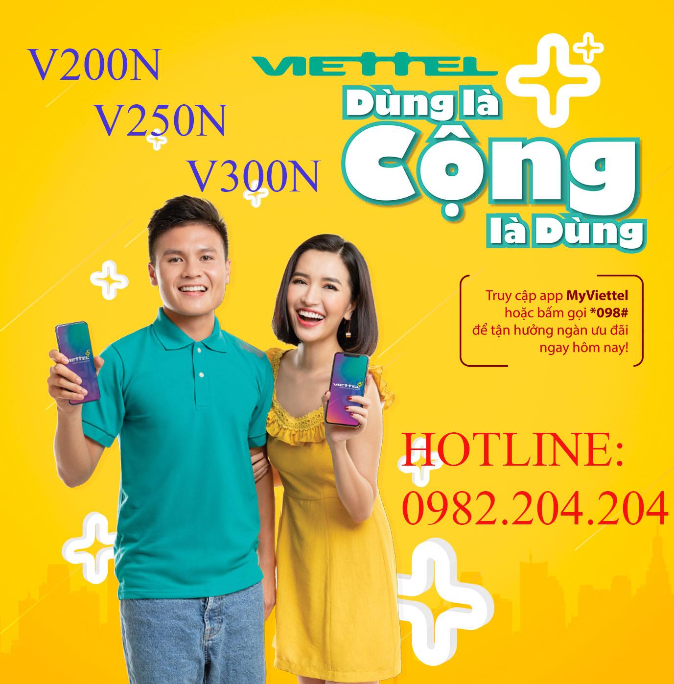 Các gói di động trả sau Viettel V200N V250N V300N