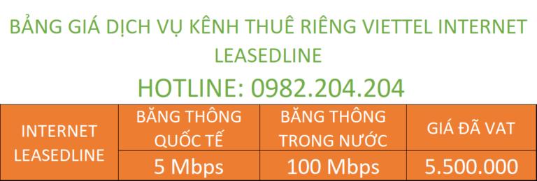 Bảng giá kênh riêng internet leased line Viettel 2021