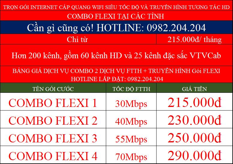 Bảng giá lắp internet cáp quang wifi combo flexi Viettel tại tỉnh
