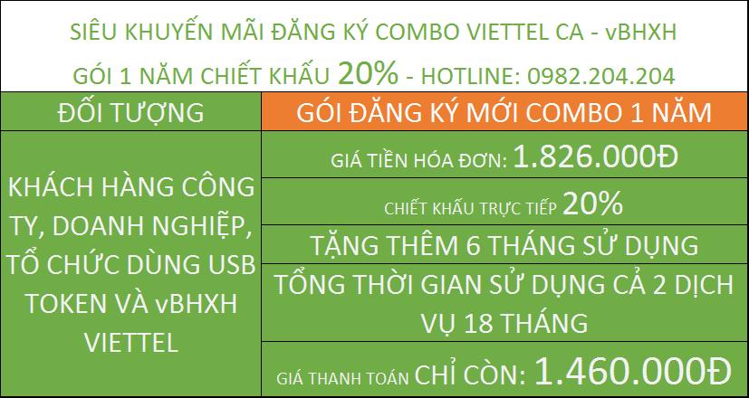 Chữ Ký Số Viettel combo vBHXH gói 1 năm