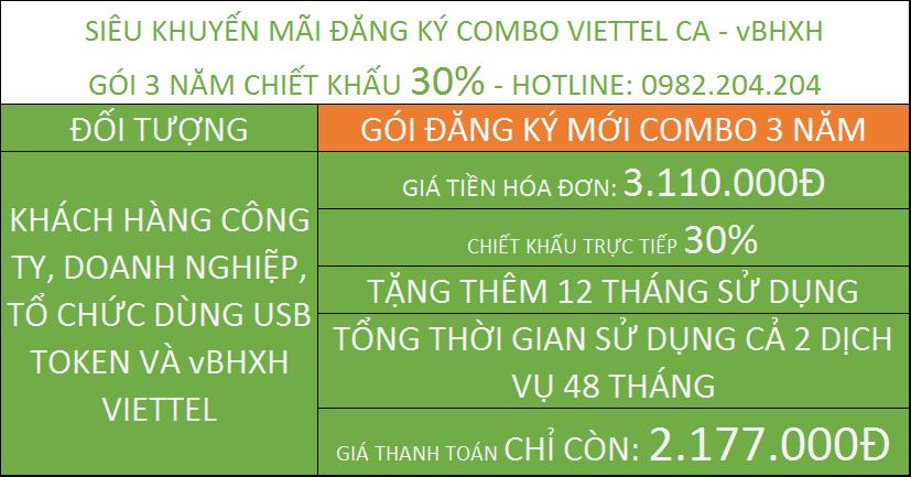 Chữ Ký Số Viettel combo vBHXH gói 3 năm