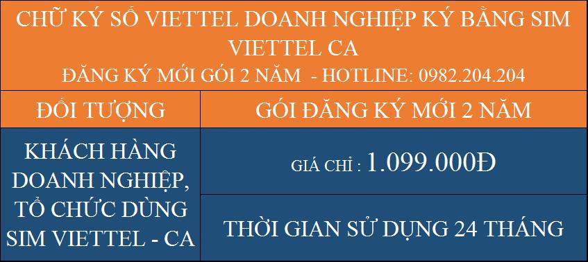 Chữ ký số Viettel giá rẻ công ty ký bằng Sim Viettel CA đăng ký mới gói 2 năm chỉ 1099000Đ