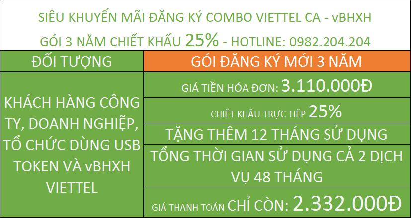 Chữ ký số viettel giá rẻ combo vBHXH gói 3 năm