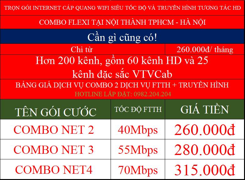 Giá các gói combo flexi internet cáp quang wifi Viettel nội thành TPHCM Hà Nội