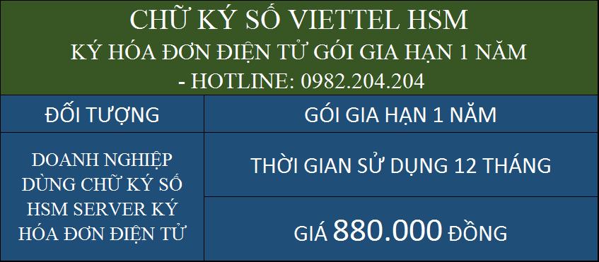 Giá gia hạn chữ ký số HSM Viettel rẻ ký hóa đơn điện tử 1 năm chỉ 880000Đ