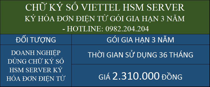Giá gia hạn chữ ký số HSM Viettel rẻ ký hóa đơn điện tử 3 năm chỉ 2310000Đ
