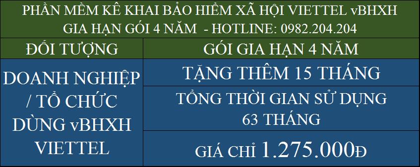 Gia hạn dịch vụ BHXH Viettel gói 4 năm giá chỉ còn 1275000