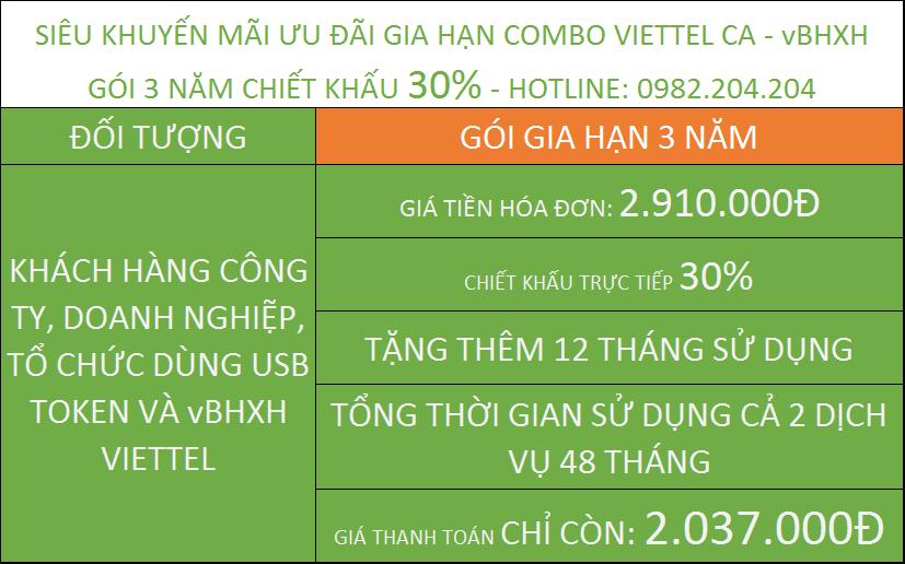 Gia hạn token Viettel ưu đãi combo vBHXH gói 3 năm