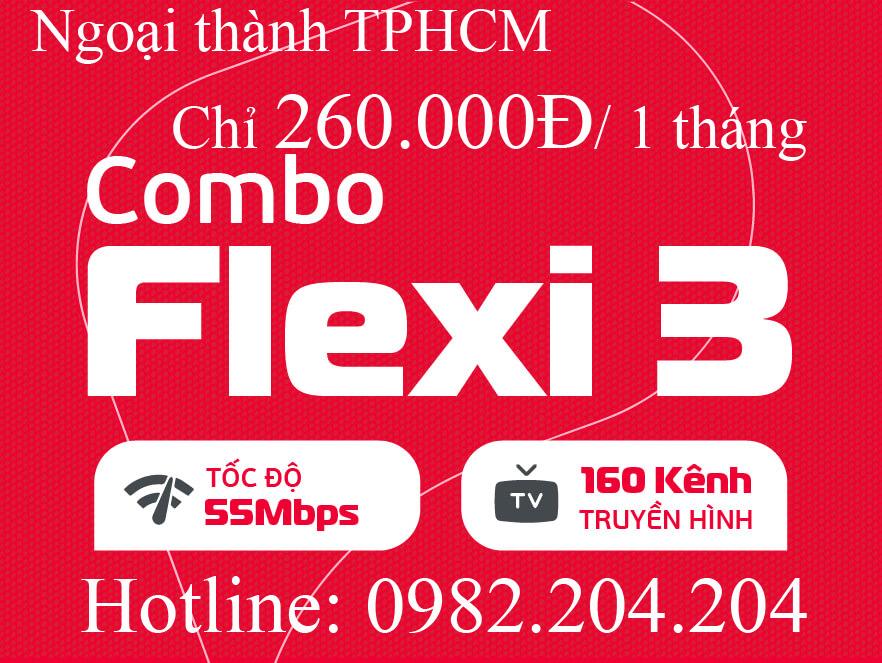 Giá internet Viettel combo flexi 3 ngoại thành Hà Nội TPHCM 55 Mbps