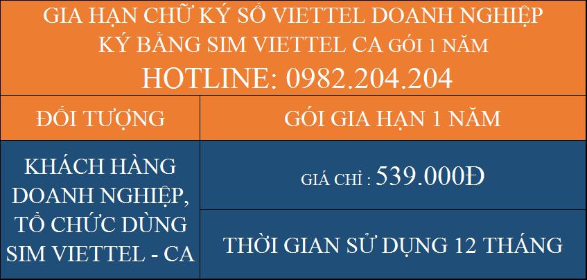 Gói Gia hạn chữ ký số Viettel giá rẻ công ty ký bằng Sim CA 1 năm