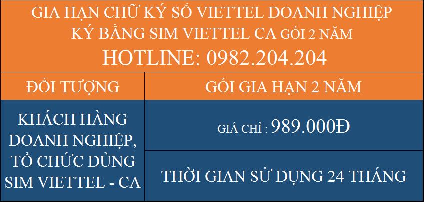 Gói Gia hạn chữ ký số Viettel giá rẻ công ty ký bằng Sim CA 2 năm