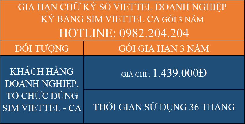 Gói Gia hạn chữ ký số Viettel giá rẻ công ty ký bằng Sim CA 3 năm
