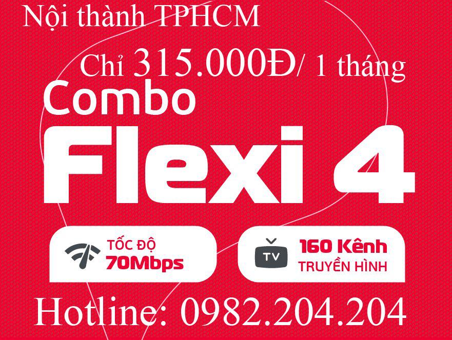Gói cáp quang Viettel combo flexi 4 kèm truyền hình nội thành TPHCM