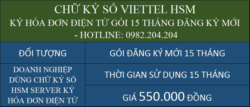 Gói chữ ký số HSM Viettel giá rẻ ký hóa đơn điện tử cấp mới 1 năm