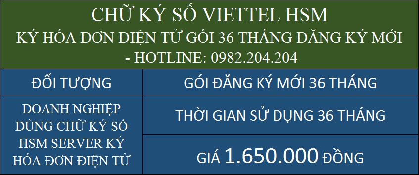 Gói chữ ký số HSM Viettel giá rẻ ký hóa đơn điện tử cấp mới 3 năm