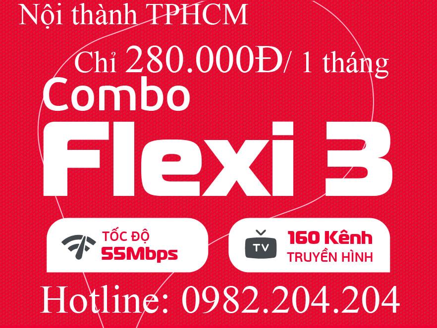 Gói internet Viettel combo flexi 3 kèm truyền hình nội thành TPHCM