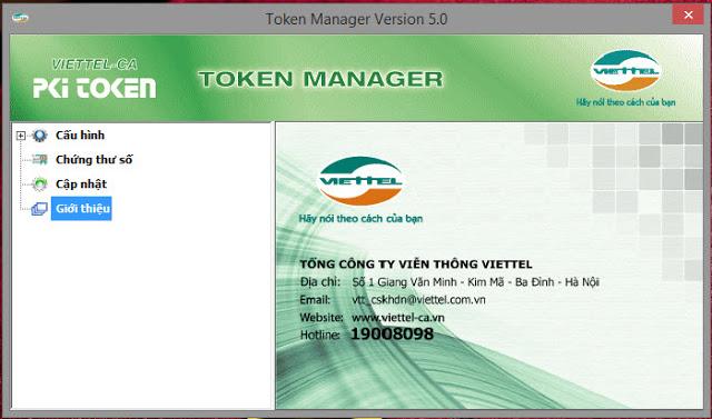 Hình giao hiện ứng dụng token Viettel CA manager