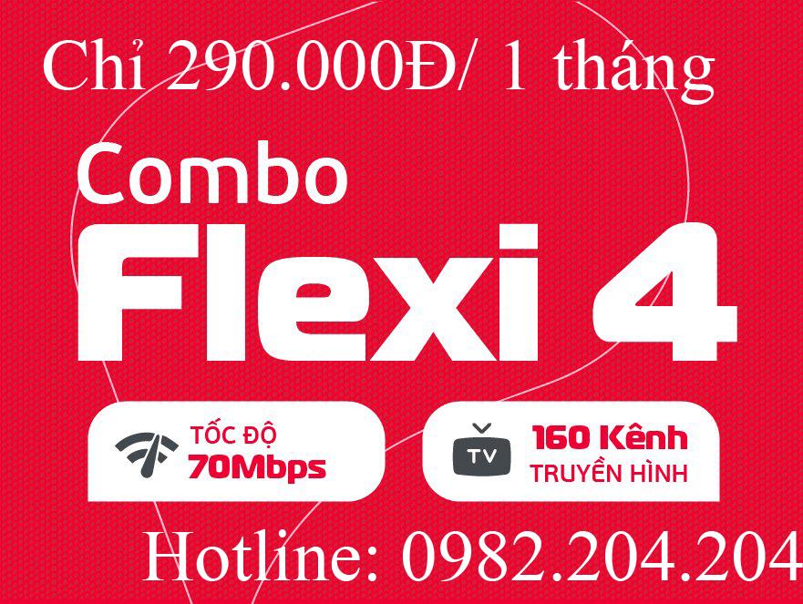 Lắp cáp quang Viettel combo flexi 4 kèm truyền hình tại tỉnh