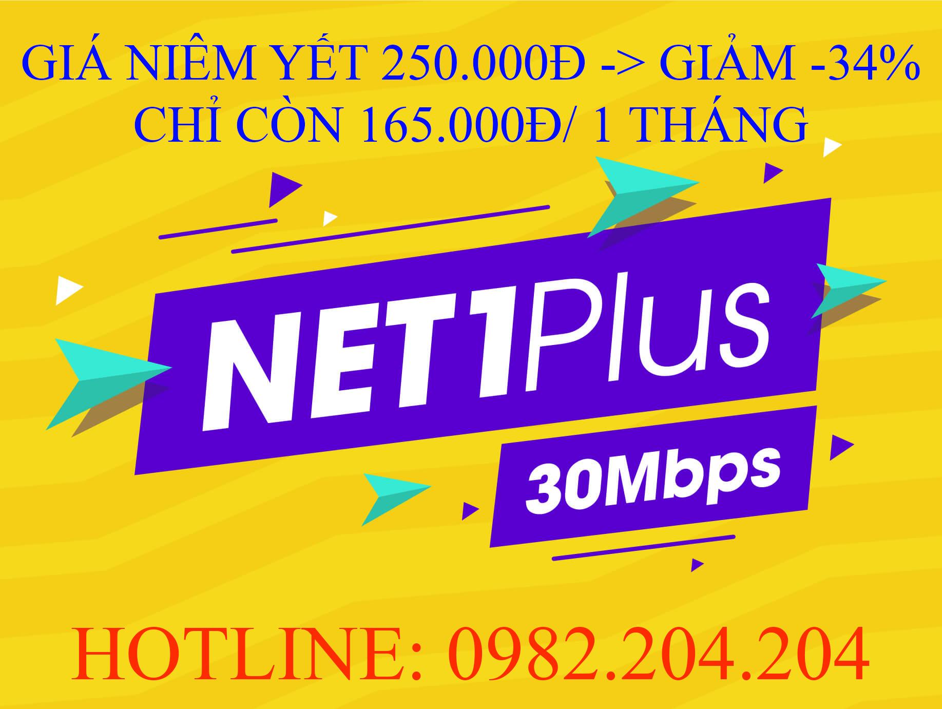Tổng Đài Lắp Đặt Mạng Internet Cáp Quang Wifi Viettel 0982024204 cung cấp gói Net 1 plus