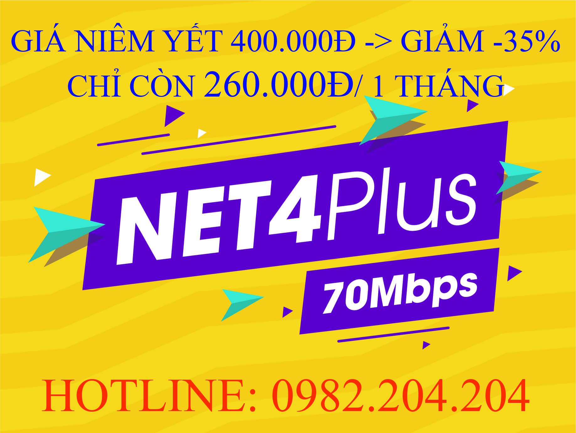 Tổng đài lắp mạng Viettel 0982204204 Cung Cấp Gói Net 4 plus