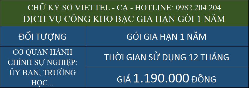 Ưu đãi gia hạn chữ ký số Viettel giá rẻ ký dịch vụ công kho bạc gói 1 năm