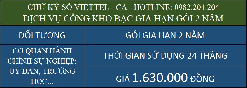 Ưu đãi gia hạn chữ ký số Viettel giá rẻ ký dịch vụ công kho bạc gói 2 năm
