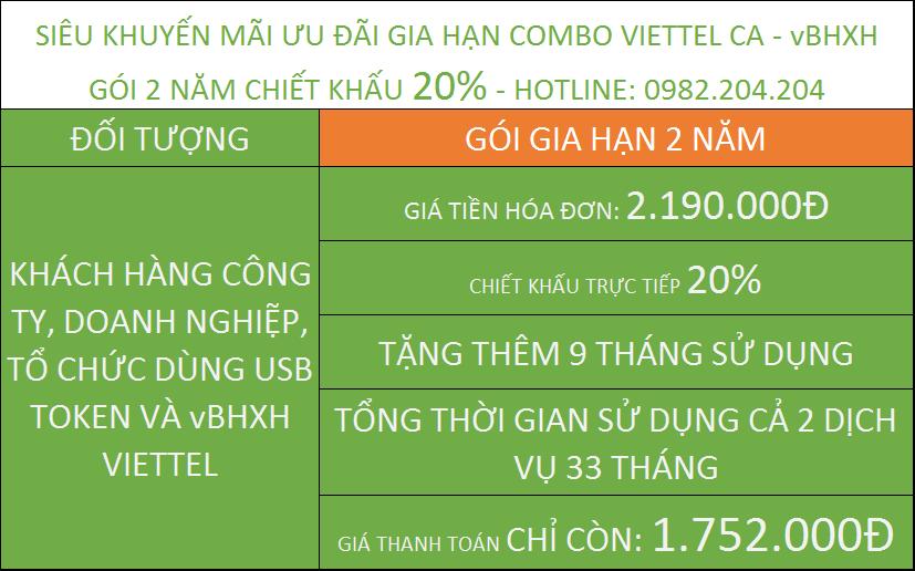 Ưu đãi gia hạn token Viettel ưu đãi combo vBHXH gói 2 năm