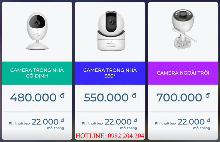 Bảng giá các loại thiết bị Home Camera Wifi Viettel kèm gói cước