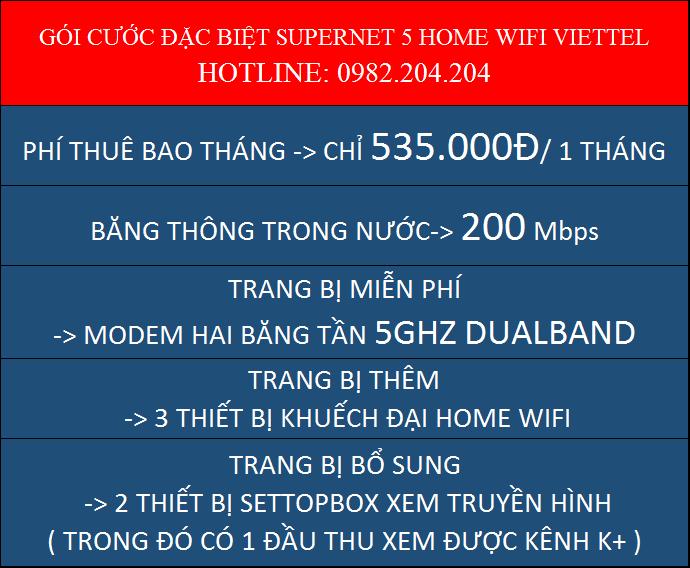 Chi tiết gói cước Supenet 5 Home Wifi