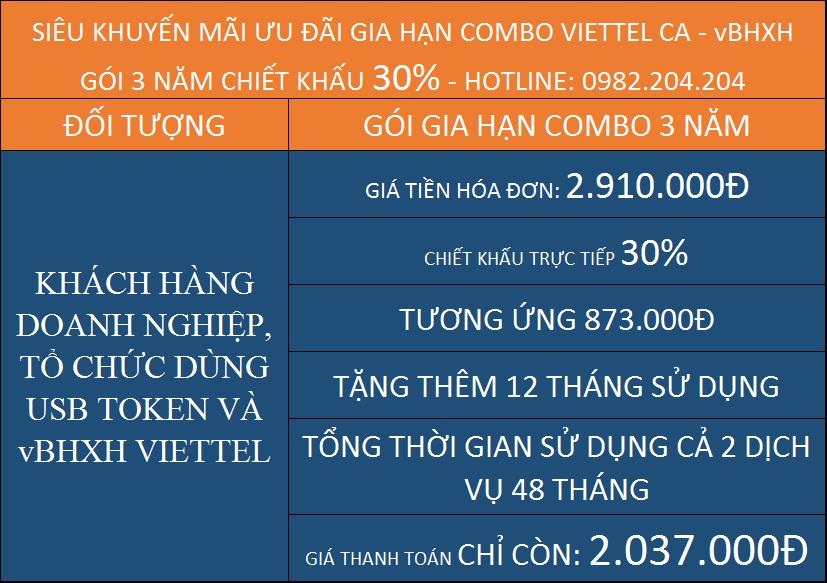 Gia hạn Chữ Ký Số Viettel Giá Rẻ TPHCM gói combo kèm vBHXH 3 năm