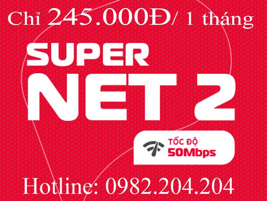 13.Lắp mạng Viettel gói Supernet 2 tại tỉnh phí chỉ 245.000Đ 1 tháng.