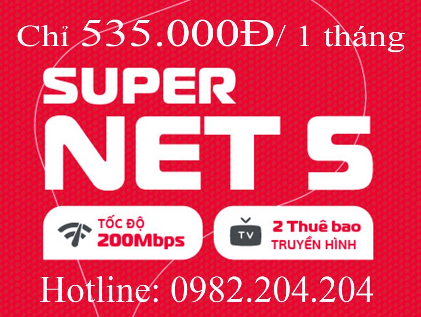 16.Lắp mạng Viettel gói Supernet 5 tại tỉnh phí chỉ 535.000Đ 1 tháng