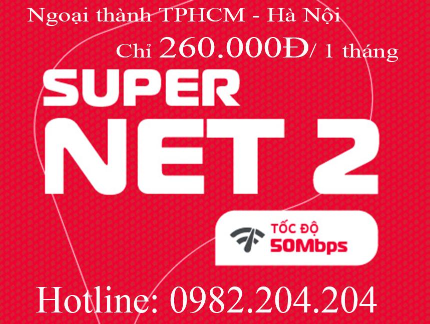 29.Lắp cáp quang Viettel gói Home wifi supernet 2 ngoại thành TPHCM và Hà Nội phí 260.000Đ 1 tháng