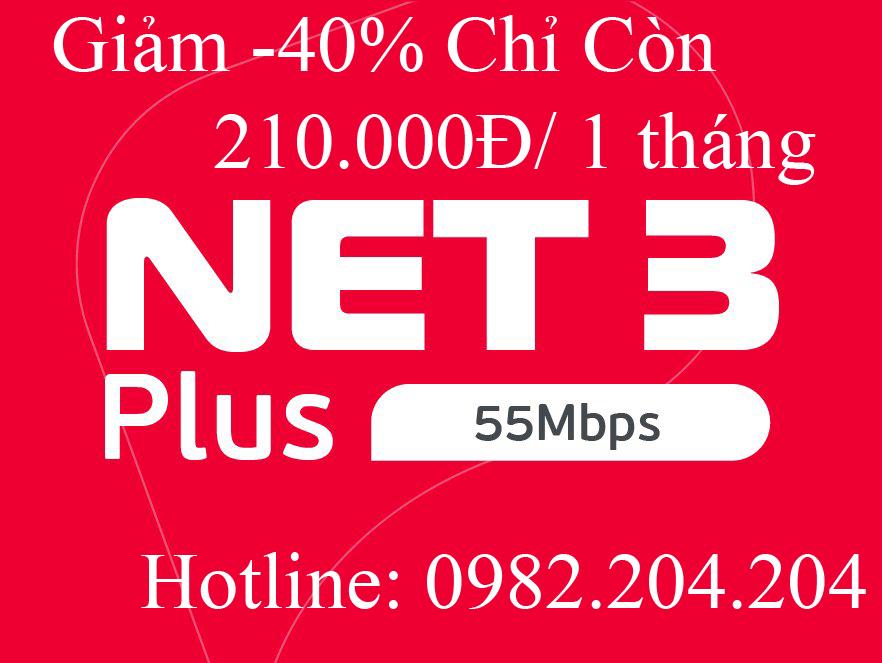 3.Đăng ký mạng wifi Viettel gói Net 3 plus tại tỉnh chỉ còn 210.000Đ 1 tháng