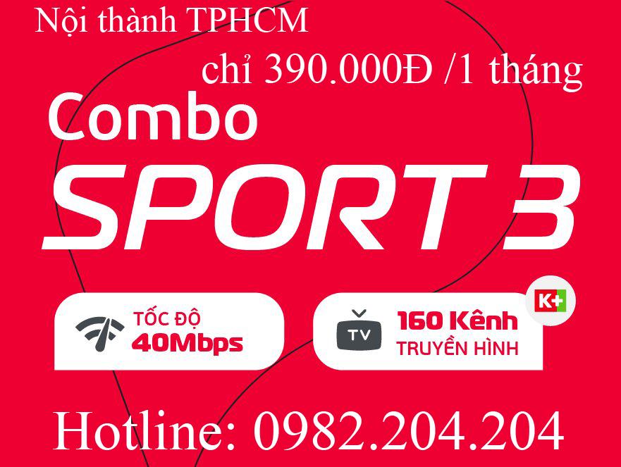 40.Đăng ký mạng Viettel gói combo sport 3 tại nội thành Hà Nội và TPHCM giá thuê bao tháng 390.000Đ