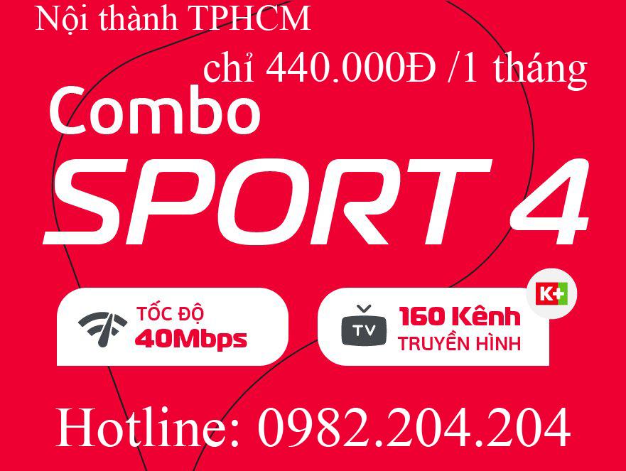 41.Đăng ký mạng Viettel gói combo sport 4 tại nội thành Hà Nội và TPHCM giá thuê bao tháng 440.000Đ