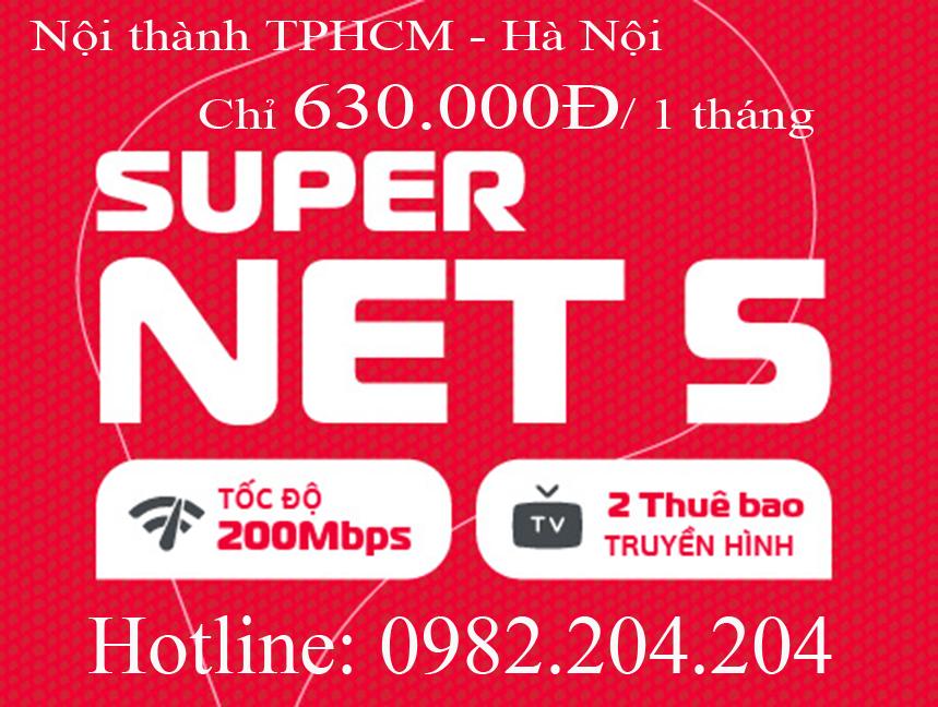 45.Đăng ký wifi Viettel gói Supernet 5 nội thành TPHCM và Hà Nội phí thuê bao tháng 630.000Đ