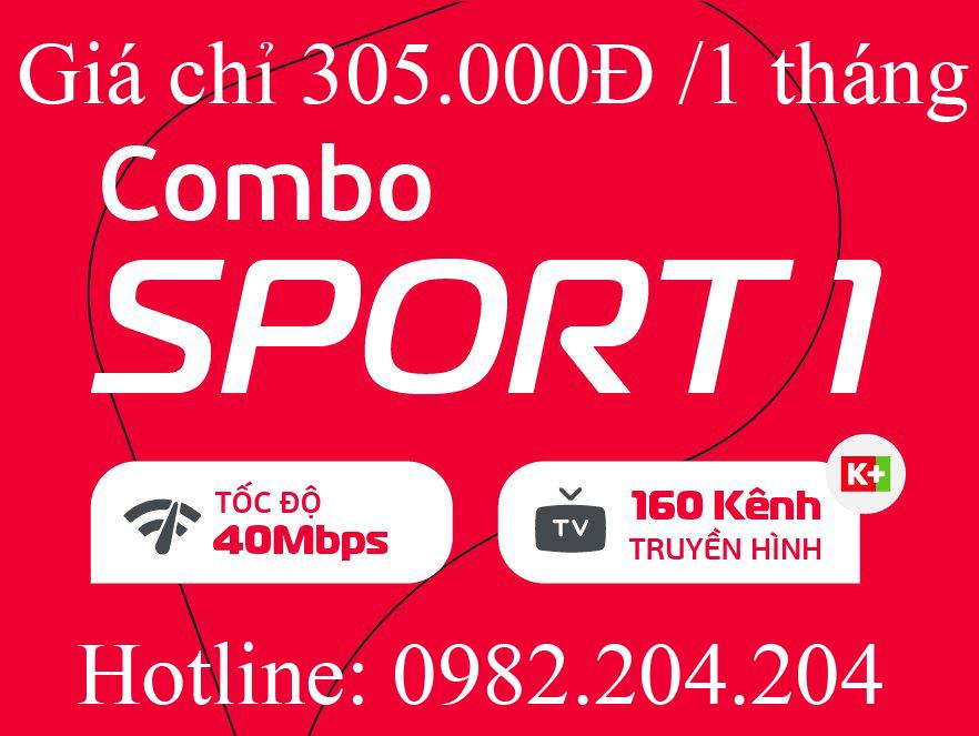 9.Lắp mạng internet cáp quang Viettel gói combo sport 1 kèm truyền hình K+ tại tỉnh chỉ 305.000Đ 1 tháng