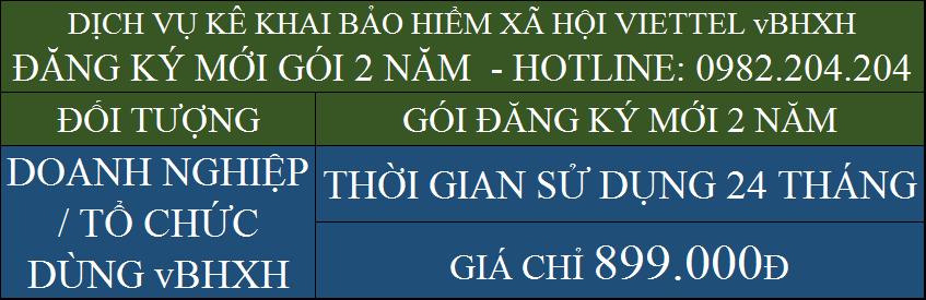 Bảng giá BHXH Viettel gói đăng ký mới 2 năm 899000Đ