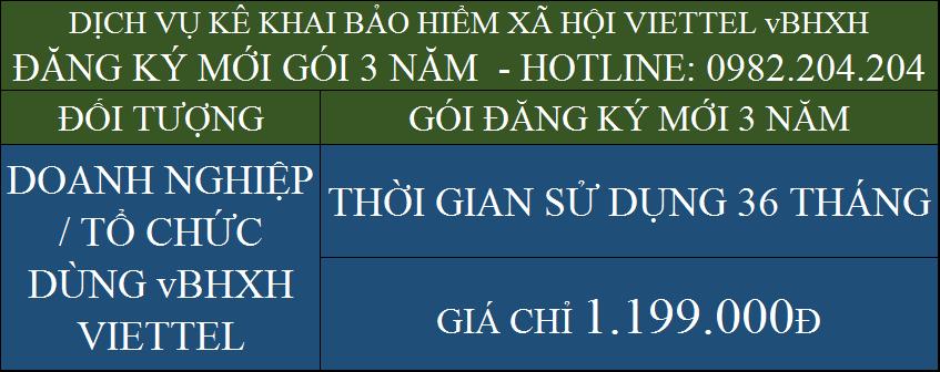 Bảng giá dịch vụ kê khai bảo hiểm xã hội Viettel vBHXH gói đăng ký mới 3 năm 1199000Đ