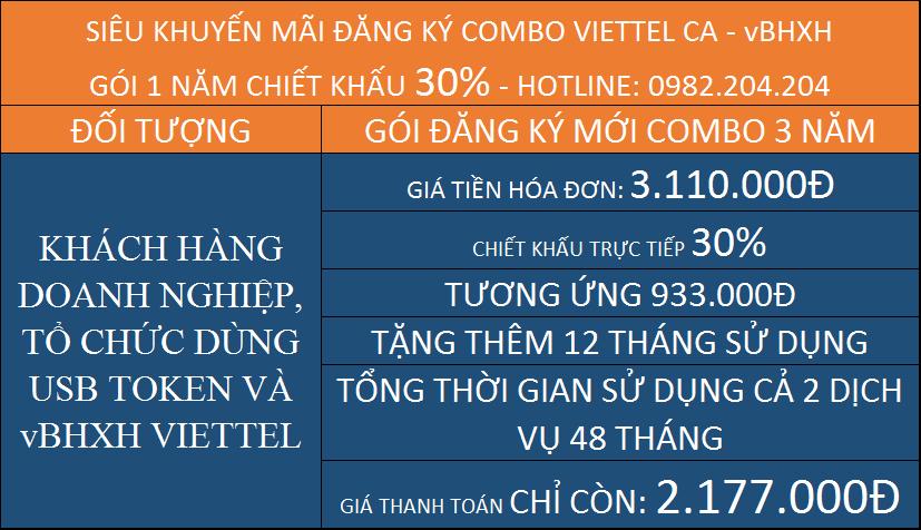 Bảng giá vBHXH Viettel kèm chữ ký số Viettel CA gói 3 năm