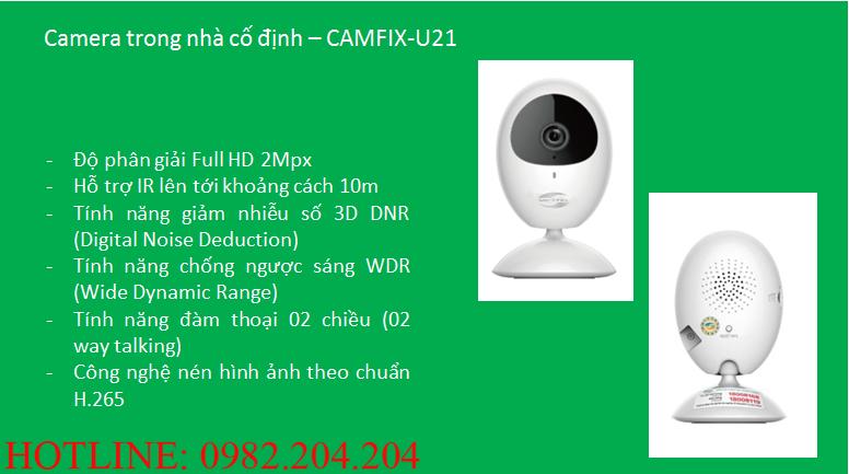 Các thông số và tính năng loại Camera trong nhà cố định Home Camera Wifi Viettel giá rẻ CAMIX-U21