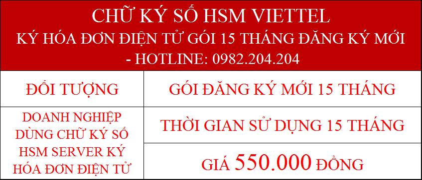 Chữ ký số HSM Viettel ký hóa đơn điện tử gói 15 tháng
