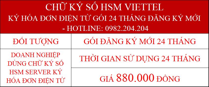 Chữ ký số HSM Viettel ký hóa đơn điện tử gói 24 tháng