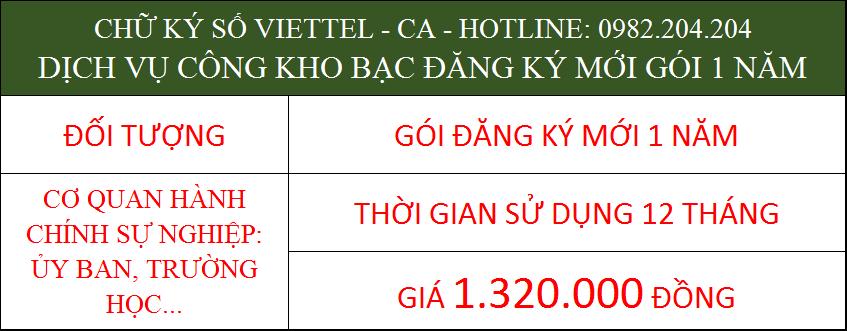 Chữ ký số Viettel cho cá nhân trong cơ quan ký kho bạc gói 1 năm
