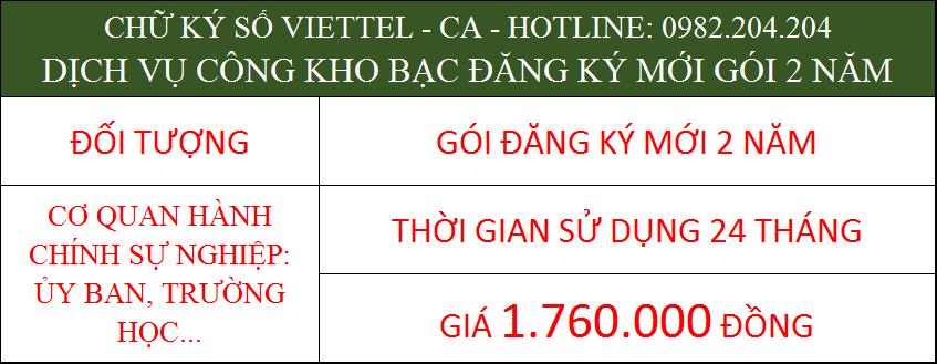 Chữ ký số Viettel cho cá nhân trong cơ quan ký kho bạc gói 2 năm