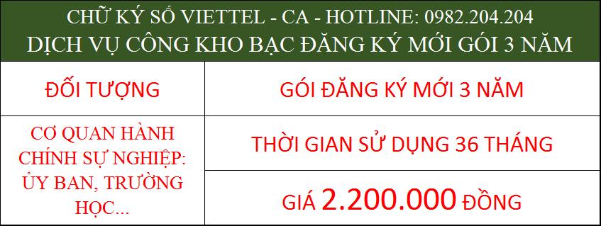 Chữ ký số Viettel cho cá nhân trong cơ quan ký kho bạc gói 3 năm