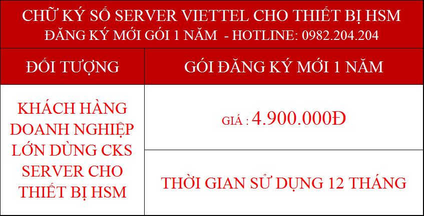 Chứng thực chữ ký số server Viettel cấp cho thiết bị HSM gói 1 năm