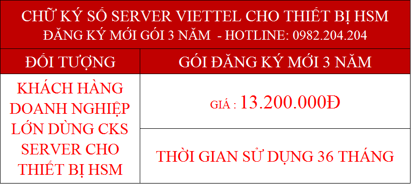 Chứng thực chữ ký số server Viettel cấp cho thiết bị HSM gói 3 năm