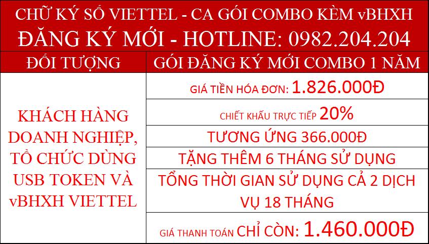 Combo chữ ký số Viettel CA và vBHXH Viettel gói 1 năm